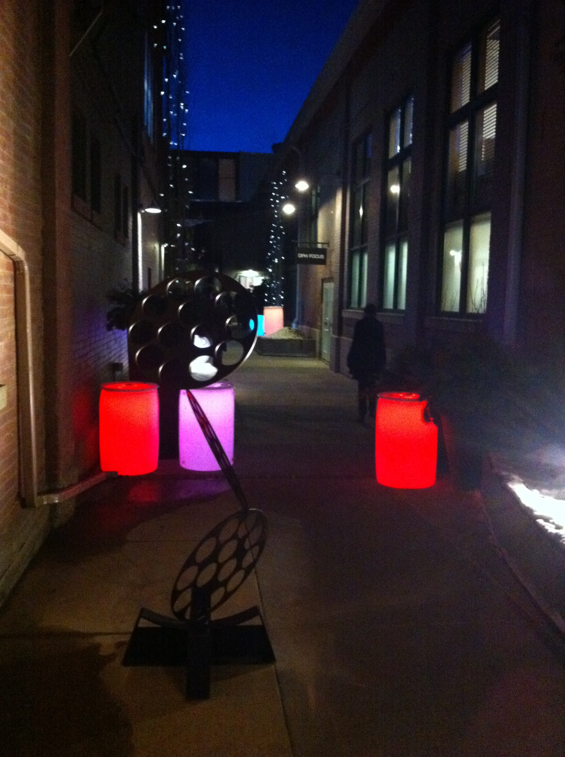 "This was the entrance to ""Passage"" on the opening night.  How cool is this? Reminded me of the orbs that floated down the Bow River at night a few years back."