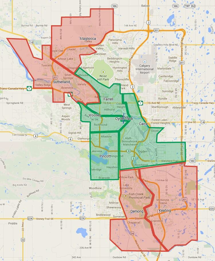 """An illustration of how Councillors voted on the proposed City Centre Cycle Track Plan. The Councillors in red voted against the plan and the ones in green for. The inner city might better be described as a """"green hole."""" As the Calgary grows the four quadrants of the city have less and less in common with the inner city; perhaps the unicity model doesn't work as a city gets larger? (credit: @BlairClagary)"""