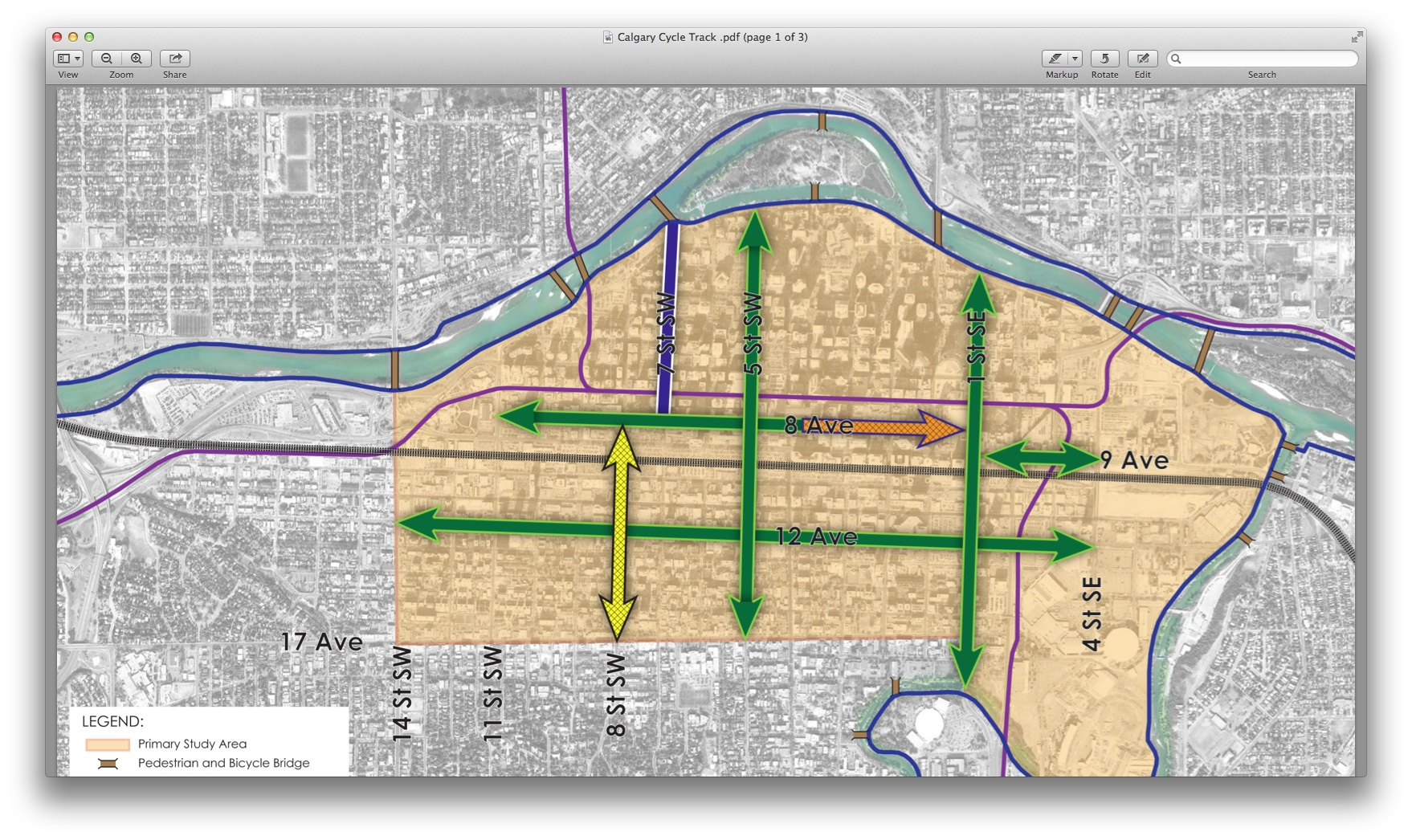 This is a diagram of the proposed cycling infrastructure improvements planned for the City Centre. The green lines are the proposed new cycle tracks or separate bike lanes. The yellow line is the 8th Street Master Plan Corridor Study which is more comprehensive than just bike lanes. The brown arrow is the proposed Stephen Avenue Bicycle Study and the blue is the new 7th Avenue Cycle Track that exists now.