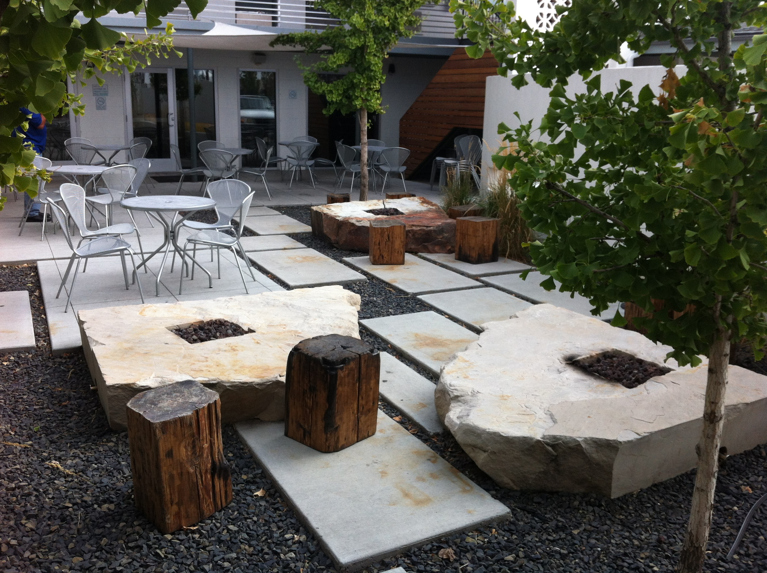 This is the patio with the fire pits at the Modern Motel and Bar.