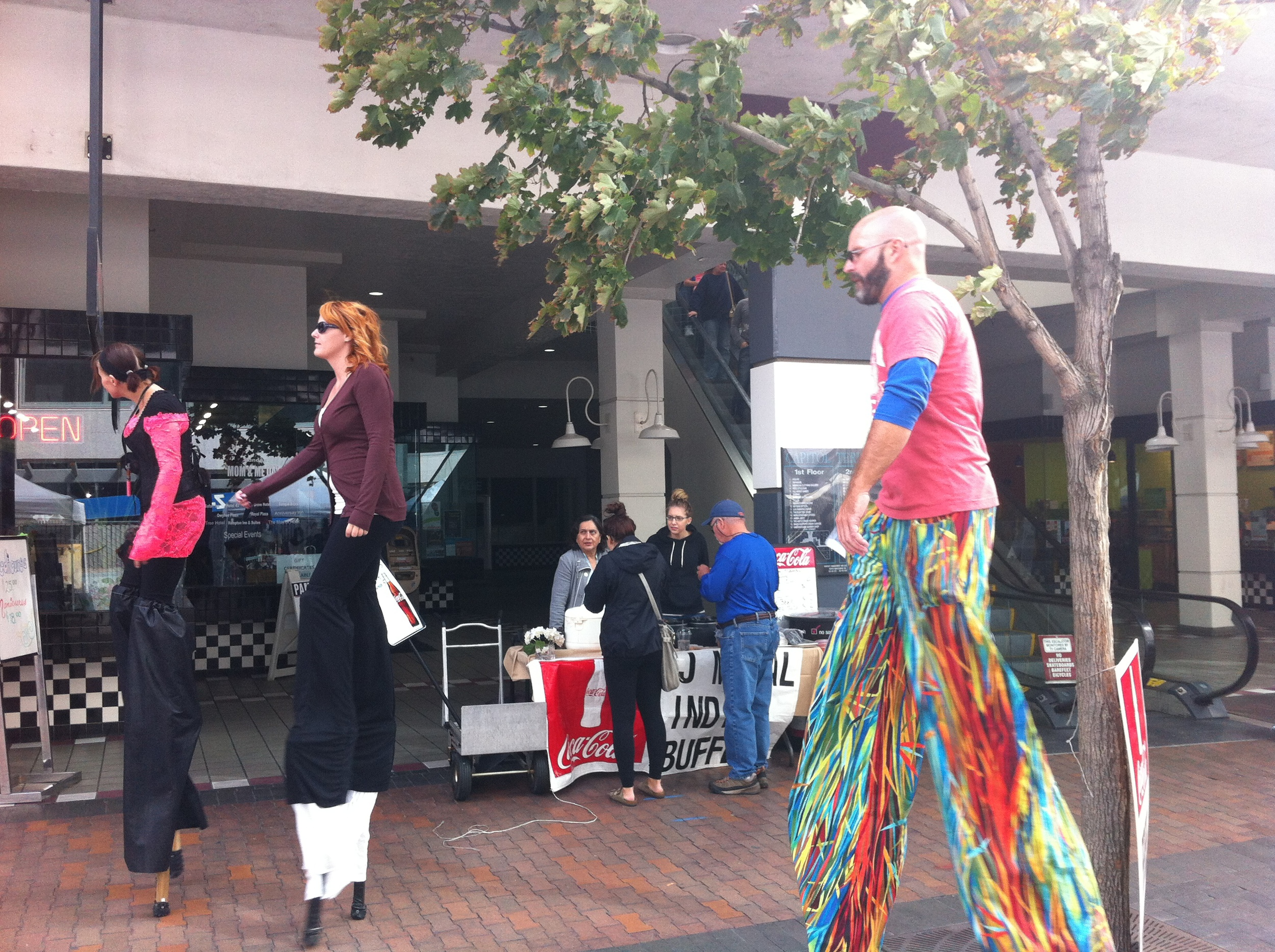 Street performers on 8th Street add fun and surprise to this pedestrian area.