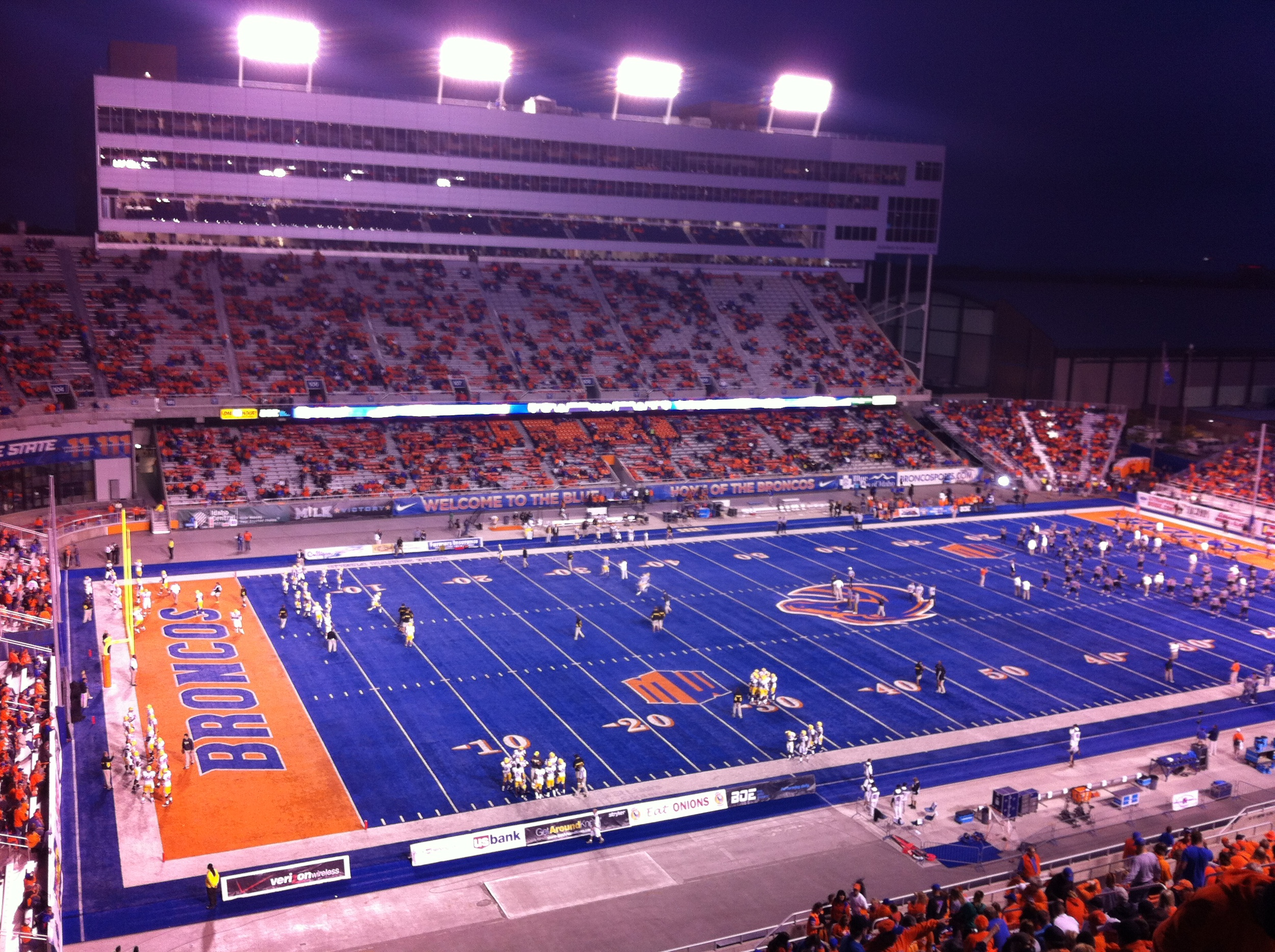 Broncos stadium before the game. It is the only football field with blue turf.