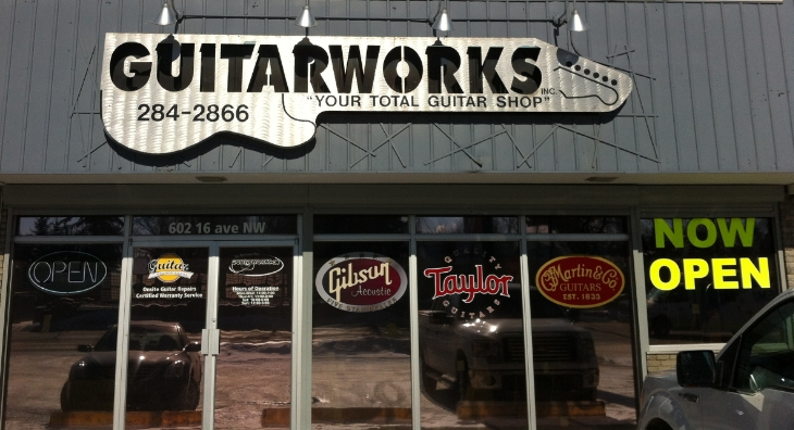 Guitar works is also in an unassuming building, but once inside it is full of guitars and other string instruments.