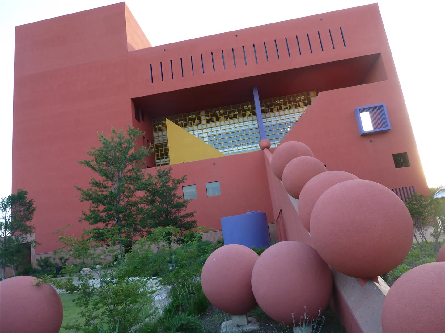 The architecture of the San Antonio Public Library has fun playfulness about it.  It opened in mid '90s at a cost of $38 million.