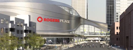 Rendering of Edmonton's ultra contemporary new arena currently under construction. (Cost: $480 million)