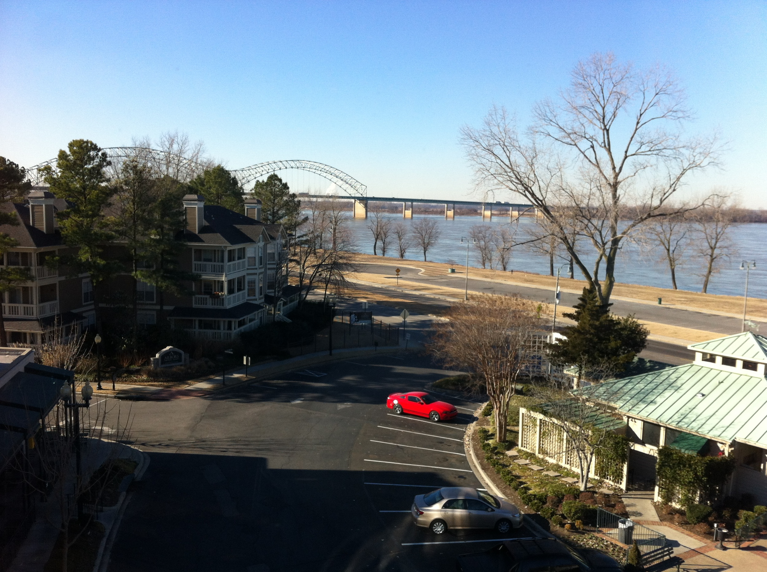 The view from our room of the mighty Mississippi and the bridge to West Memphis in Arkansas.