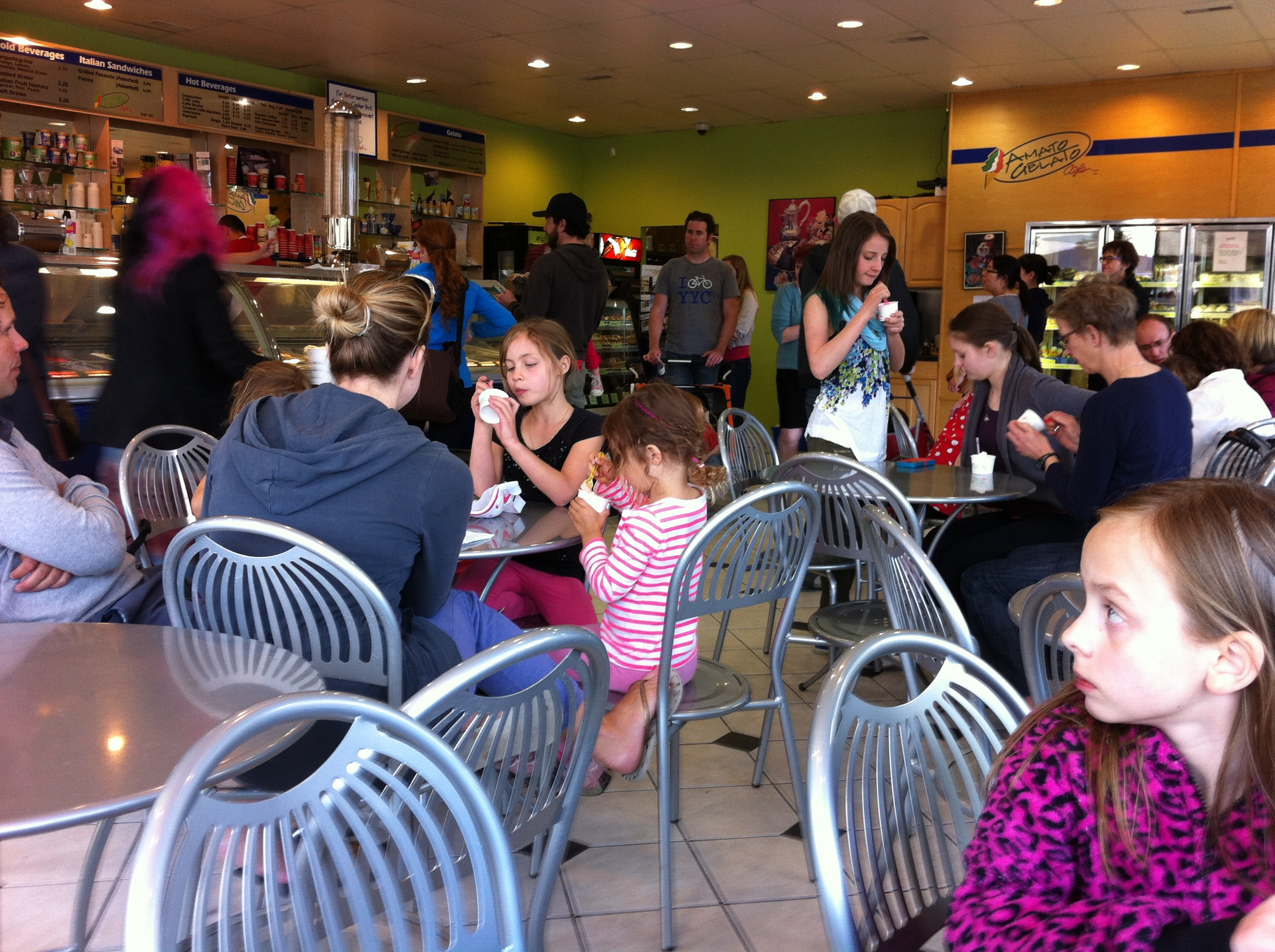 Amato Gelato Cafe is popular with the young families who are moving into West Hillhurst.