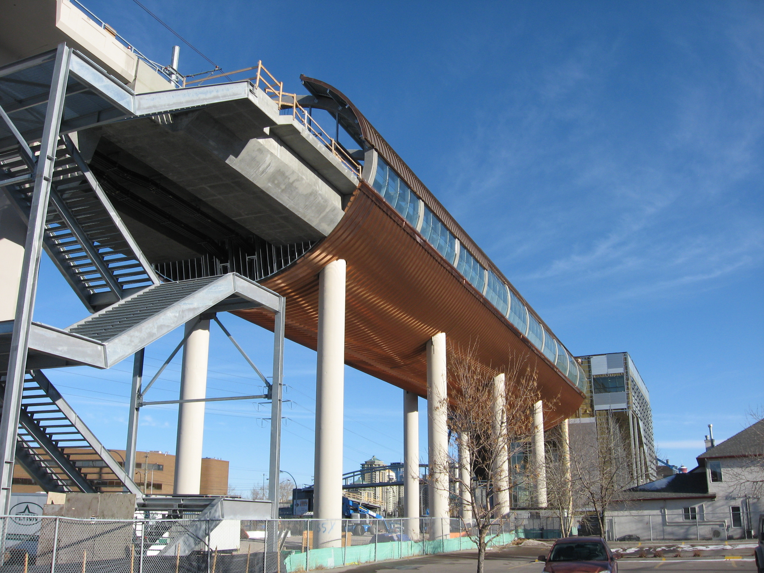 The new West LRT transit station in Sunalta.