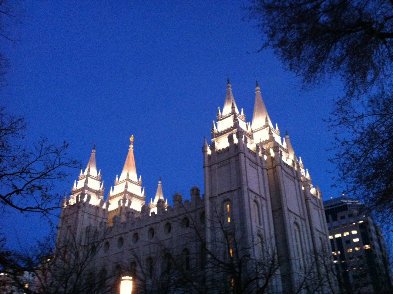 The Salt Lake Temple makes a dramatic almost heavenly - some might say Disney-esque - statement at night.