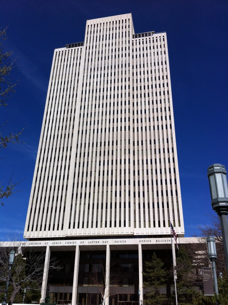 The Church of Jesus Christ of Latter-Day Saints Office Building at 26 floors, towers over the Temple campus.  Its strong, vertical lines give it an uplifting skyscraper quality that is usually associated with much taller office buildings.