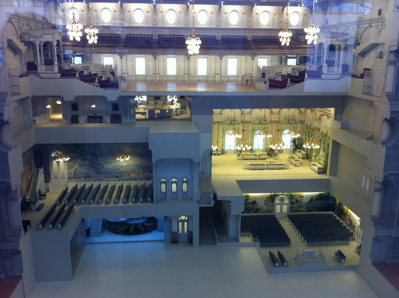 "This is a  model of the inside of Salt Lake Temple.  You can see the six different spaces on ascending levels. We were told that as you move up the leadership ladder in the church, you get access to higher levels. This adds a whole new dimension to the term ""working your way to the top."""