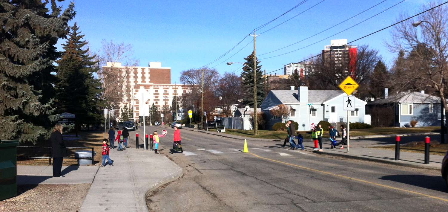 There is a wonderful parade of kids walking to school in Rosedale.