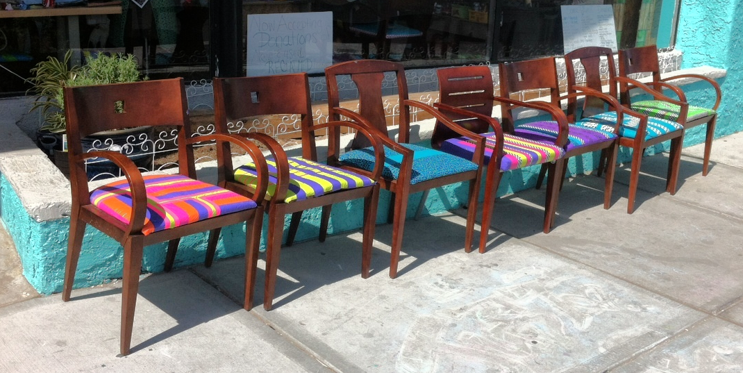 These repurposed chairs with their colourful duct tape seats were found outside a recycle DIY store in the Arts District.