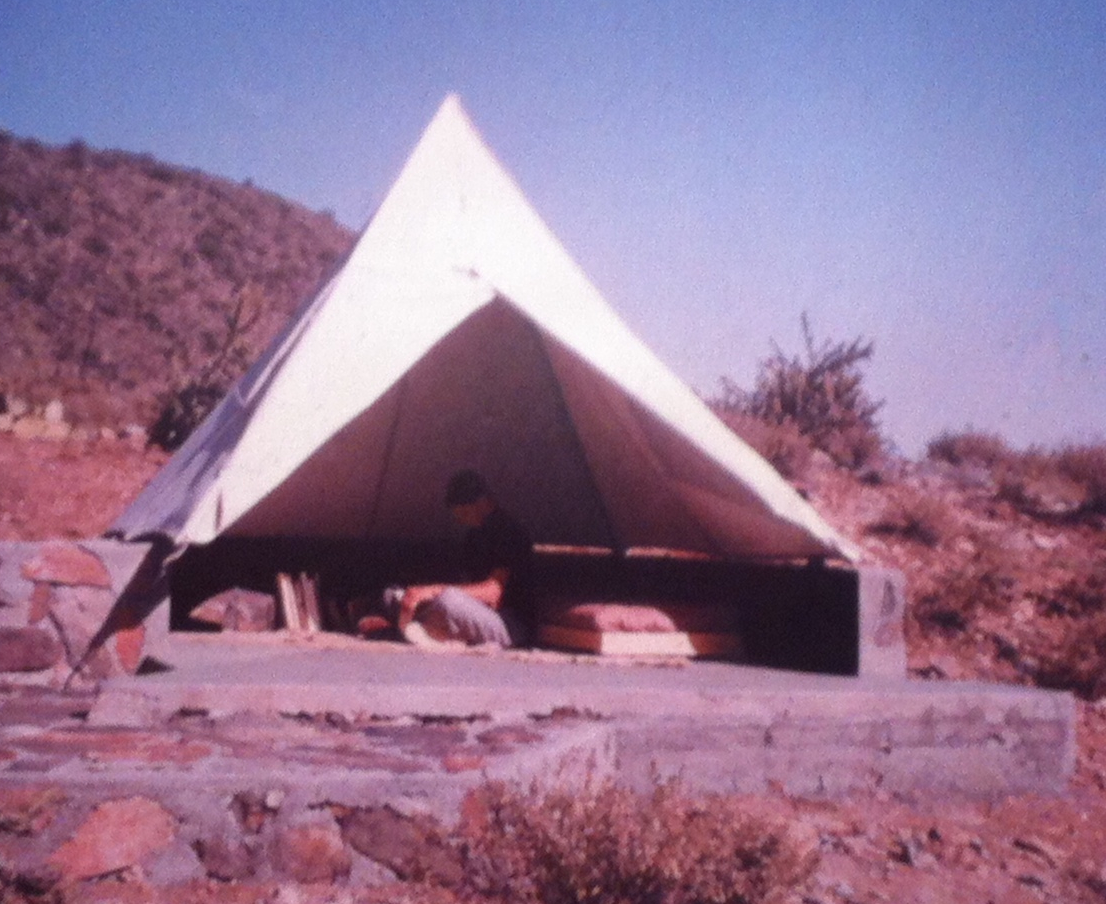 An example of one of the tents that students live in while there.