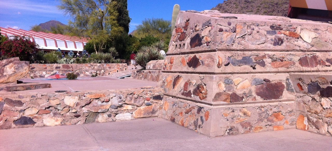 A sample of the stone walls made of rock and cement used to construct all of the buildings at Taliesin West.