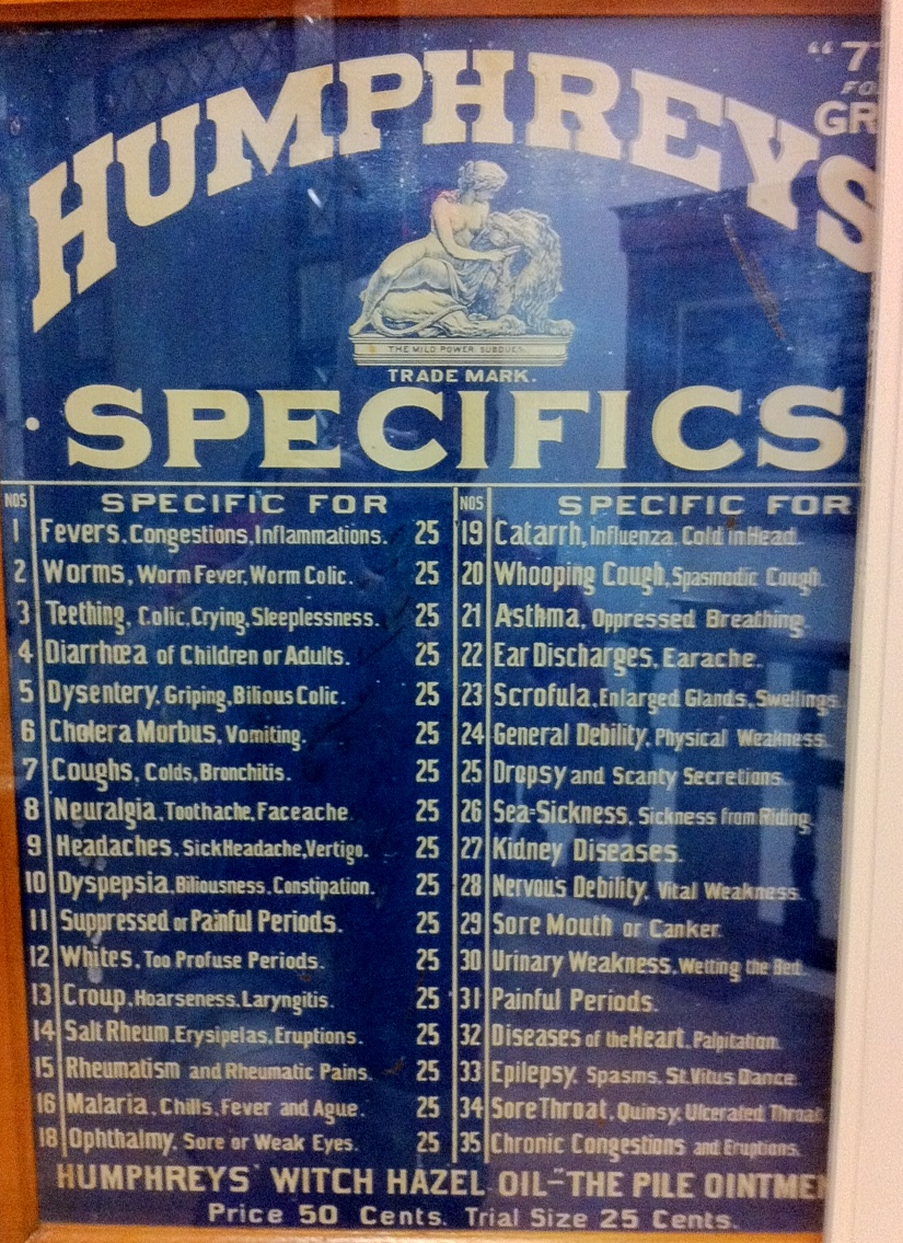 Homeopathic medicines such as Humphreys Specifics were common in drugstore windows at the turn of the century.  Customers ordered by the number printed on the display box.