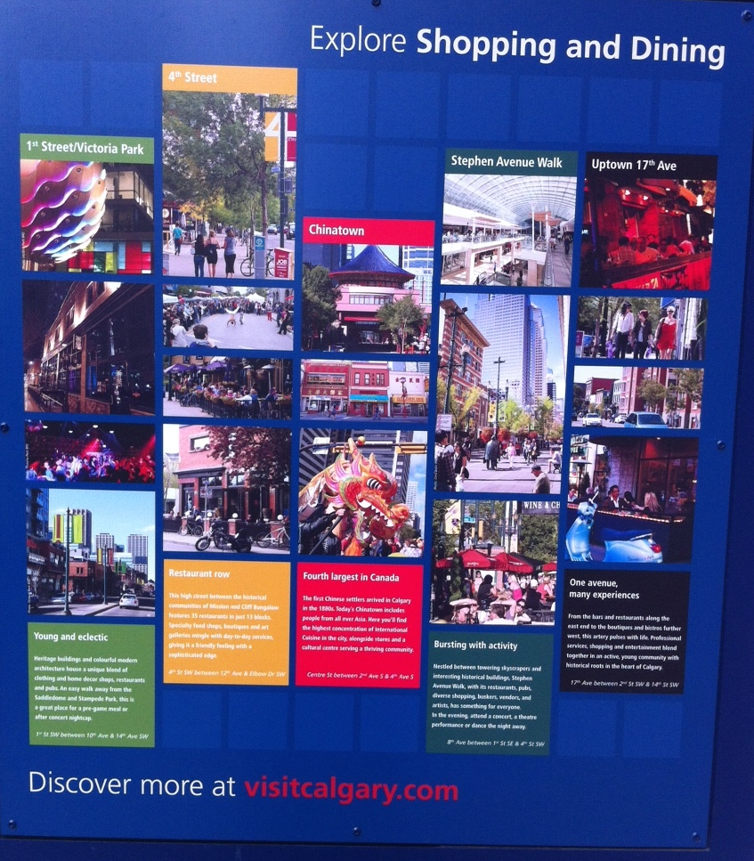 Wayfinding systems like Calgary's encourage downtown visitors to explore other areas in the vicinity.