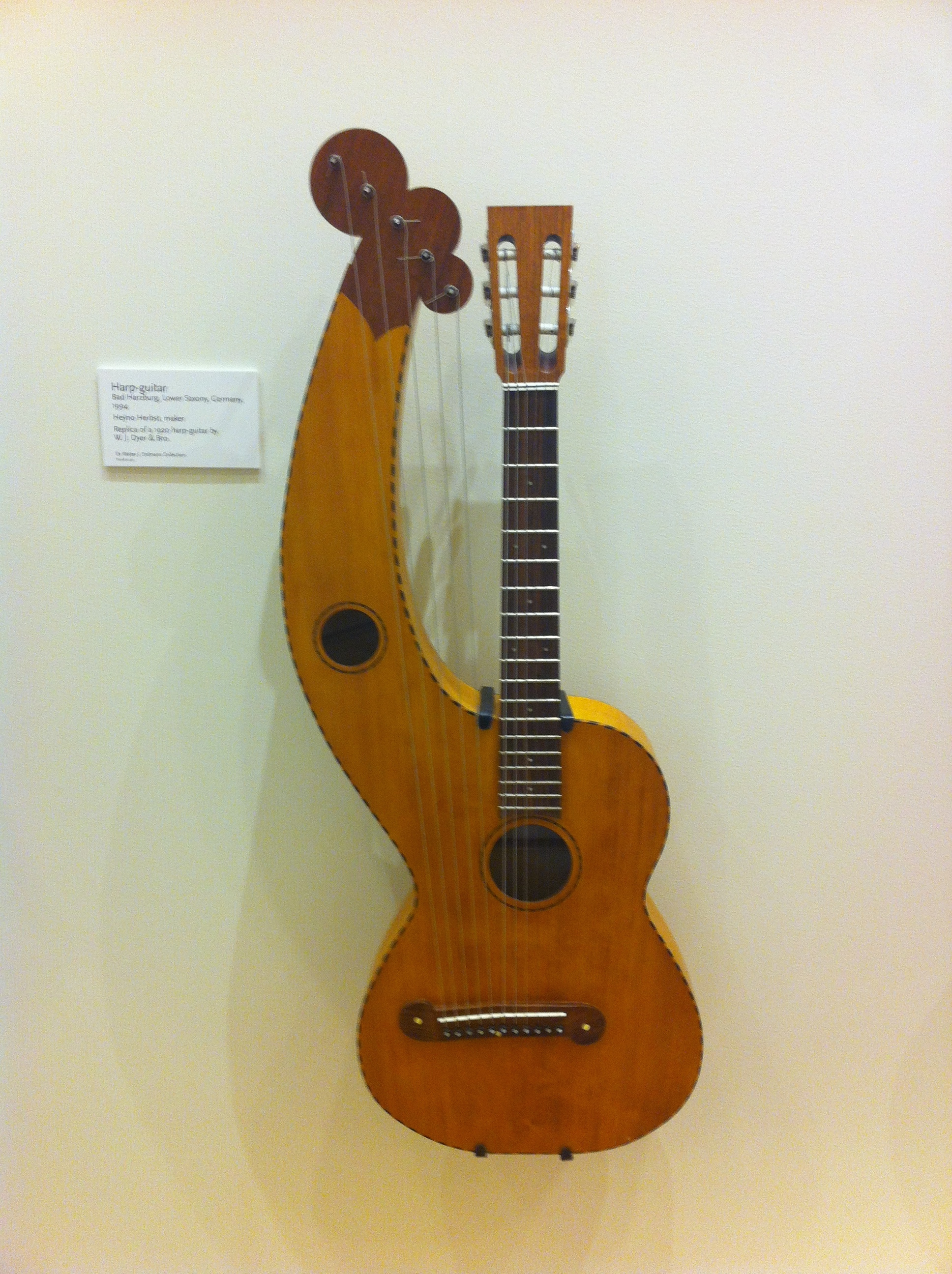 Harp guitar, Germany, 1994 (replica of 1920 harp-guitar by W.J.Dyer % Bros.)