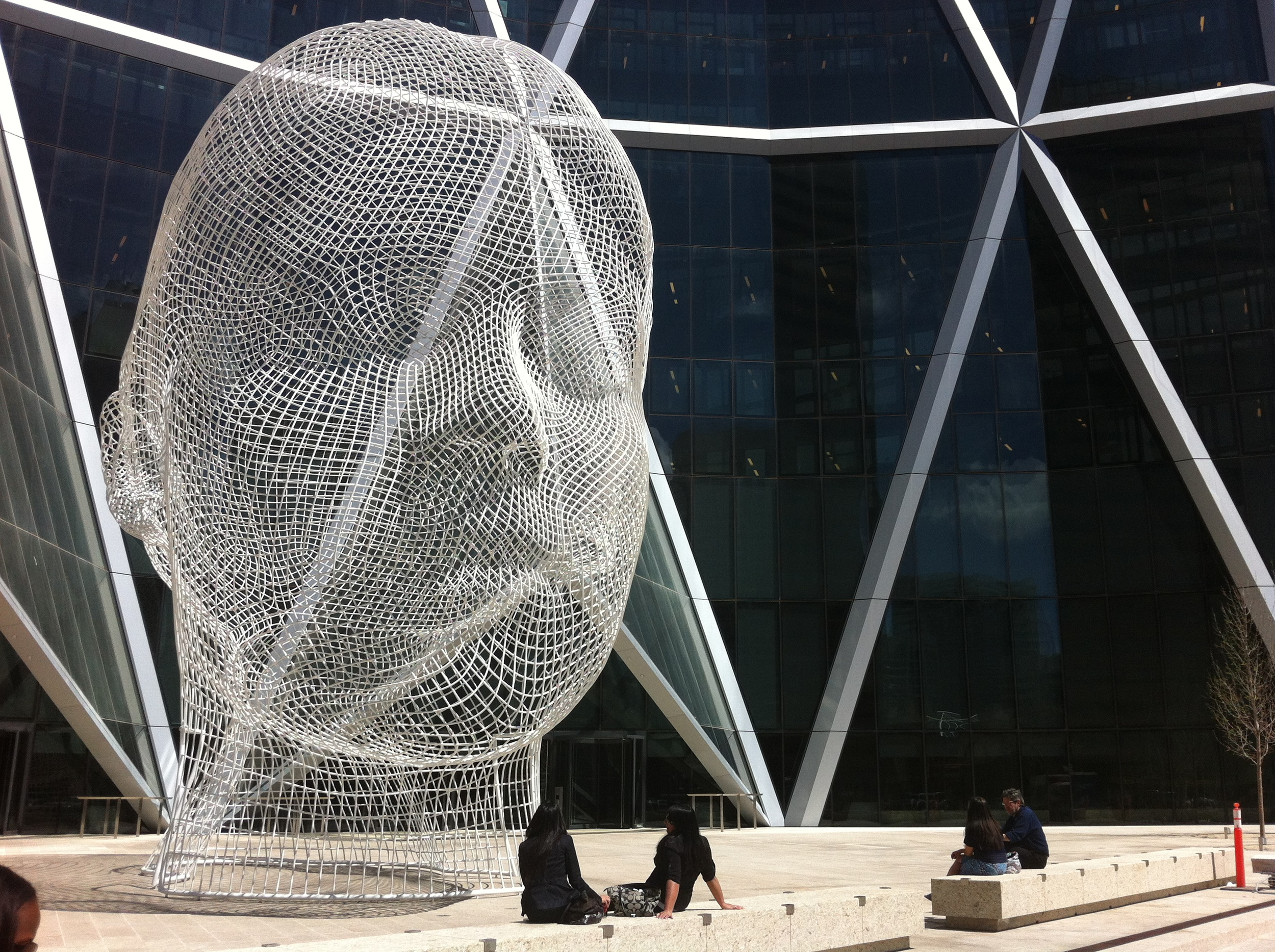 "Jaume Plensa's ""Wonderland"" located on an office plaza in downtown Calgary attracts only a few visitors a day."