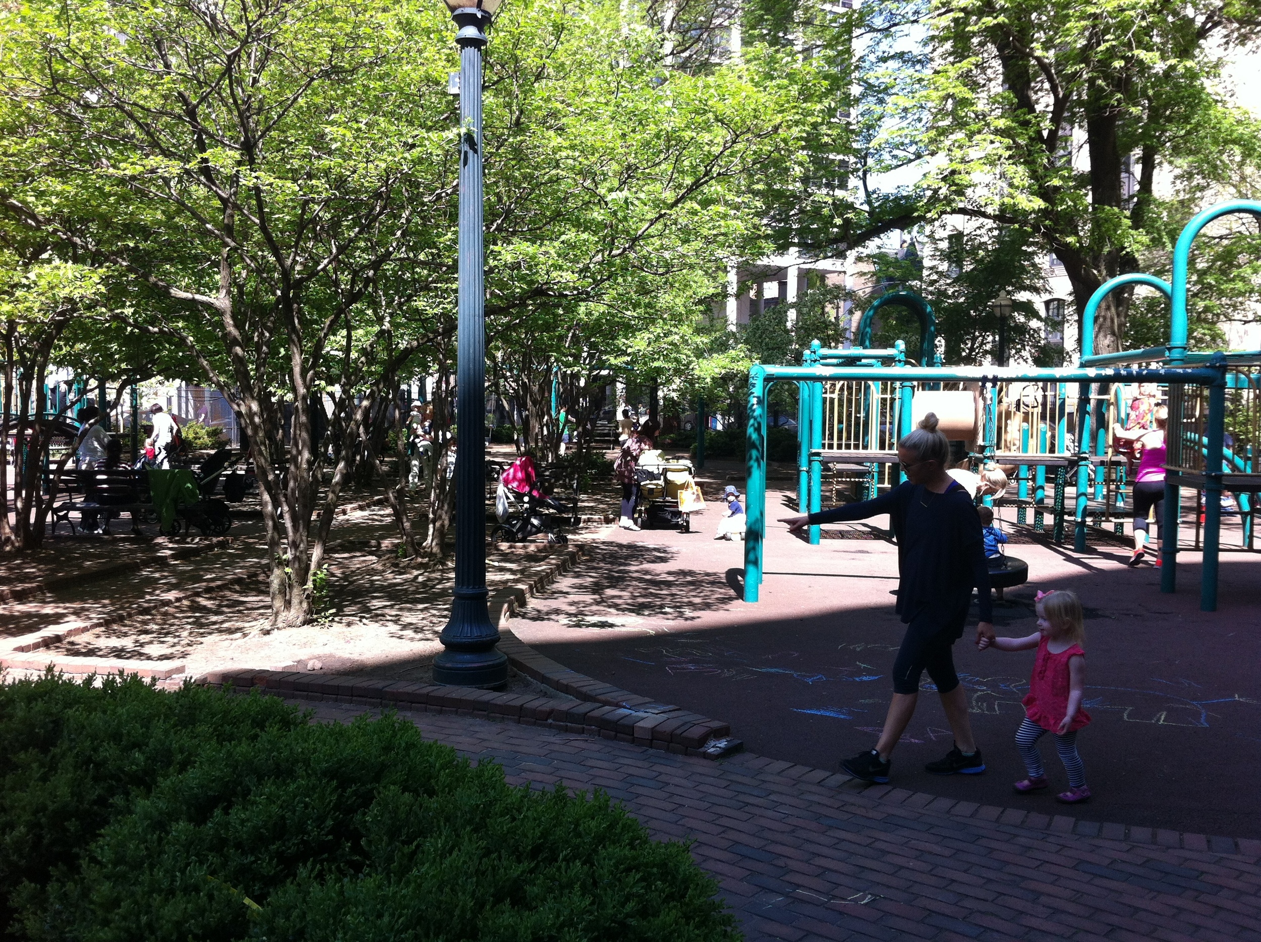 This well-treed playground in Chicago'sGold Coast community attracted dozens of families mid-week, mid-day in April.