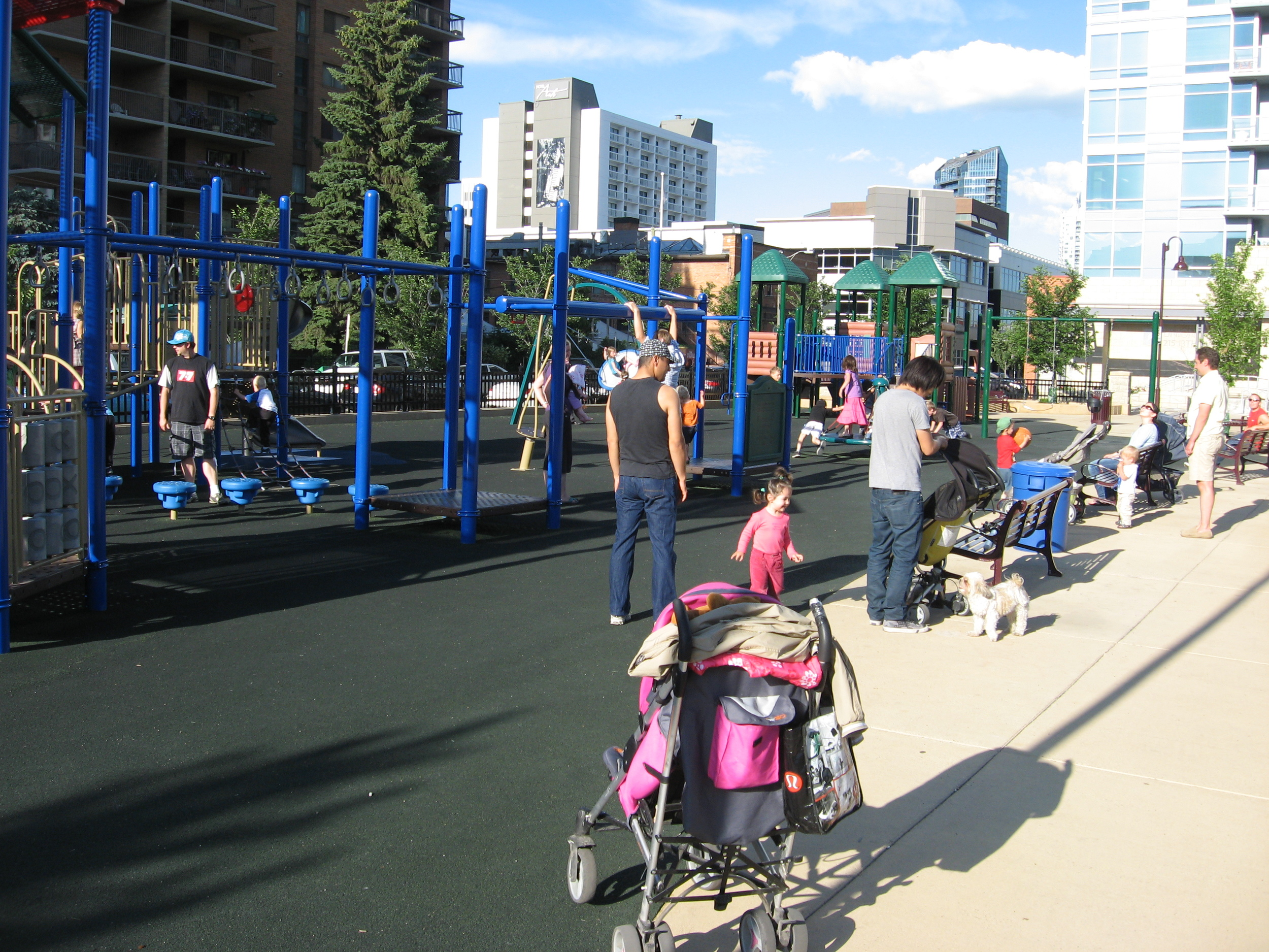 Calgary's Beltline community is one of Canada's most dense communities. It boast this very popular playground in Haultain Park.  Downtown Calgary is very family friendly.
