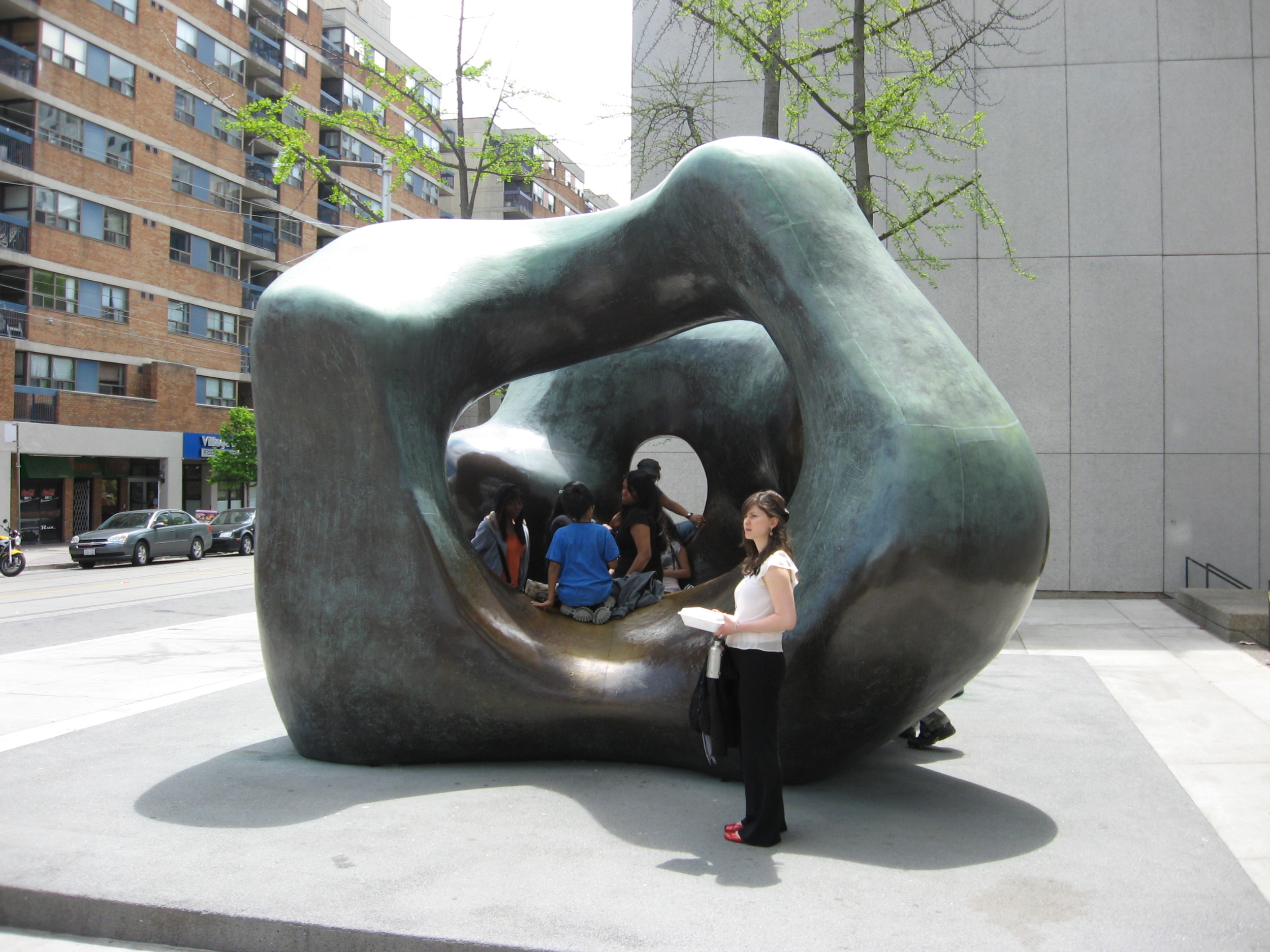 This Henry Moore sculpture in front of the Art Gallery of Ontario becomes a fun place for older children and adolescents to hang out and chat.