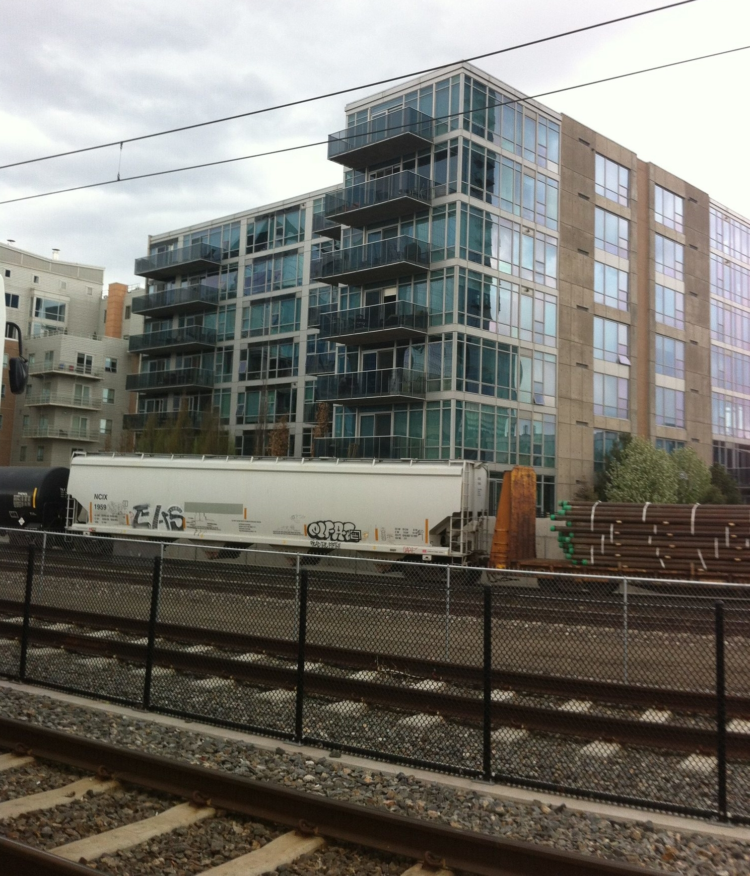 One of several mid-rise condos along Denver's downtown railway tracks.