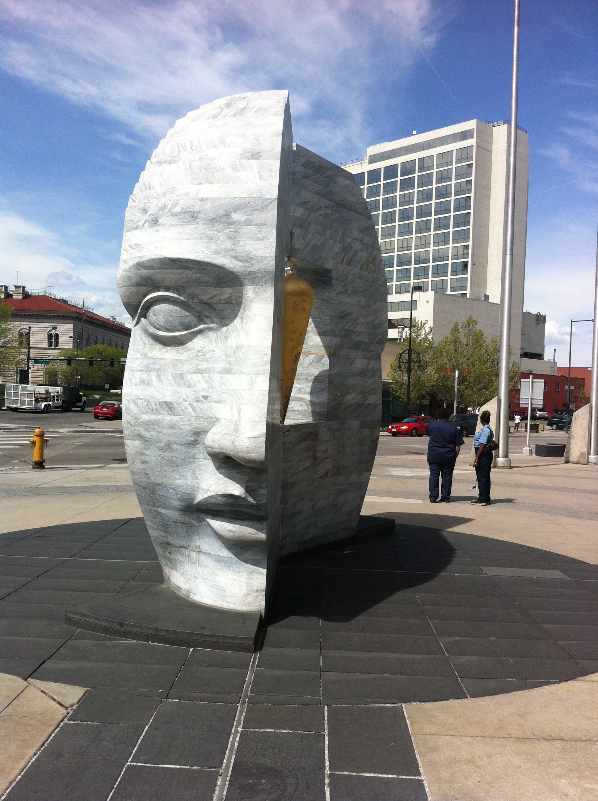 "Larry Kirkland's sculpture titled ""East West Source Point"" sit on Denver's municipal plaza."