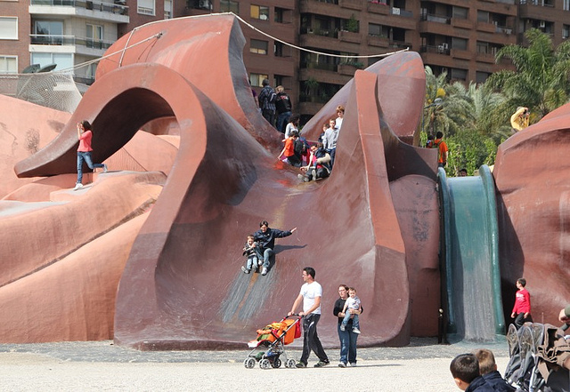Every part of the giant is available to climb on and slide down.