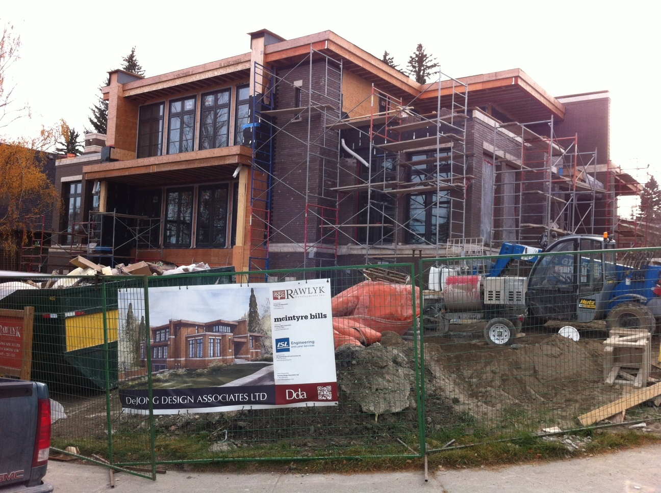 Just one of many new home construction sites in communities like Britannia, Altadore and Briar Hill located on higher ground.