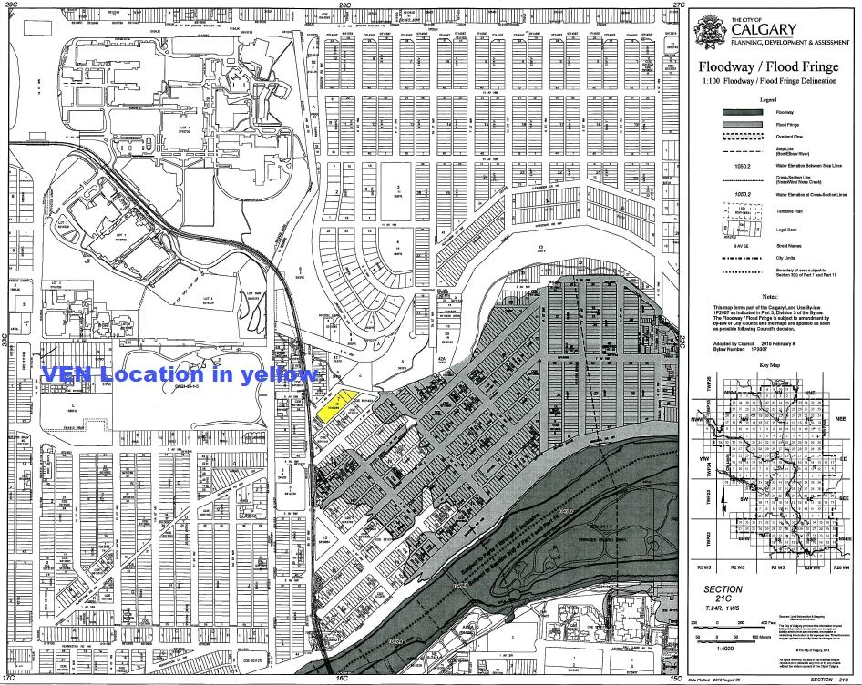 This is an updated map of the Bow River Floodway / Flood Fringe showing that the new Ven condo project by Bucci Developments is not in either.  (Photo Credit: Bucci website)
