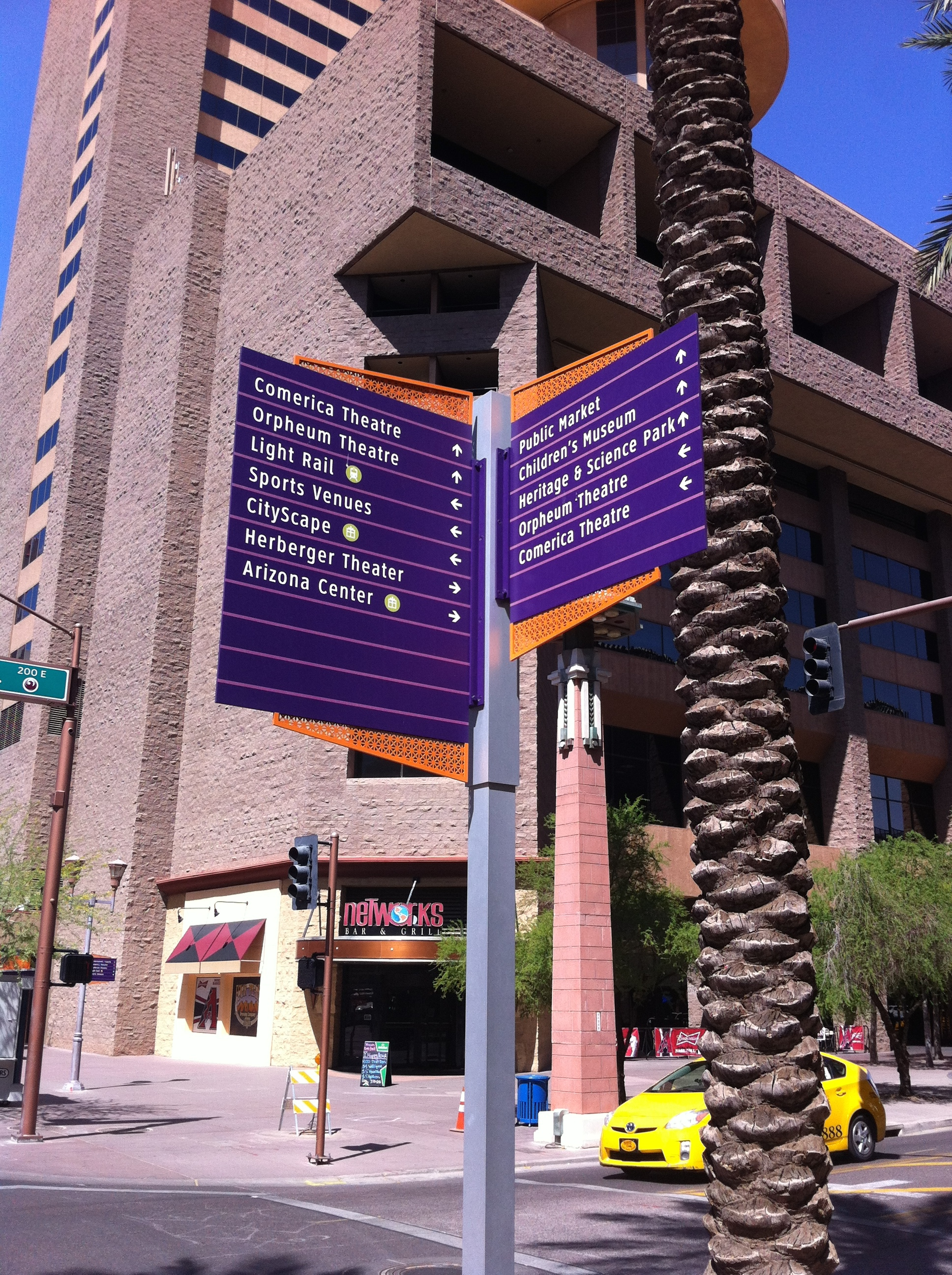 Phoenix's downtown wayfinding sign lists many attractions.