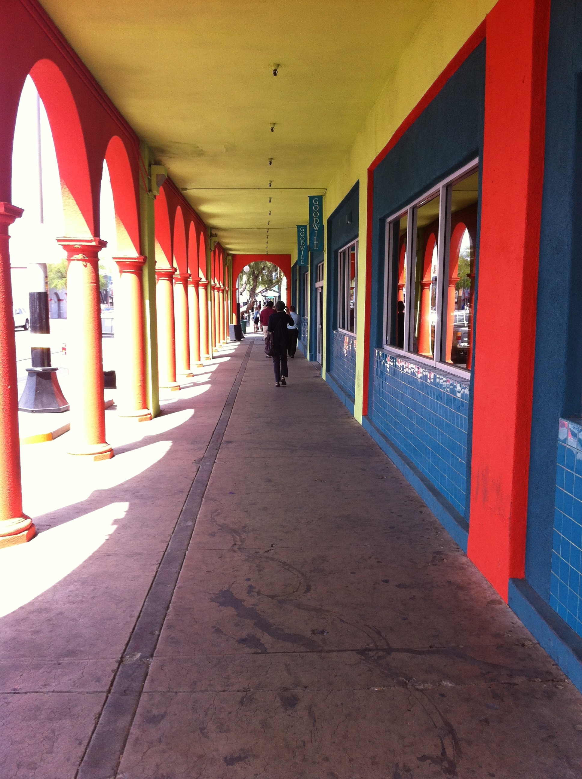Perhaps the world's most colourful colonnade can be found attached to the Goodwill building.