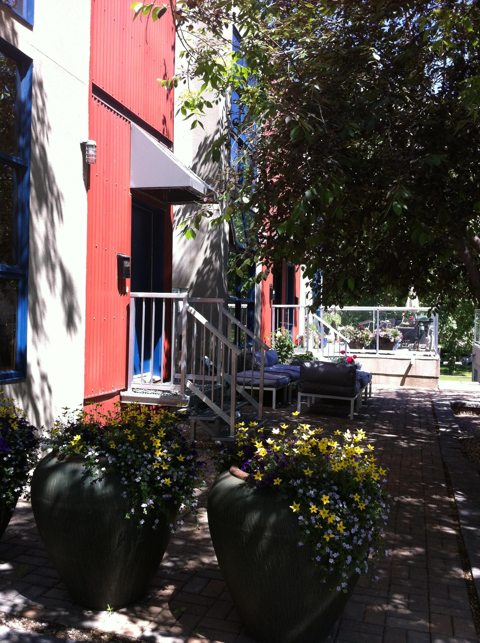 The patios are like mini botanical gardens.