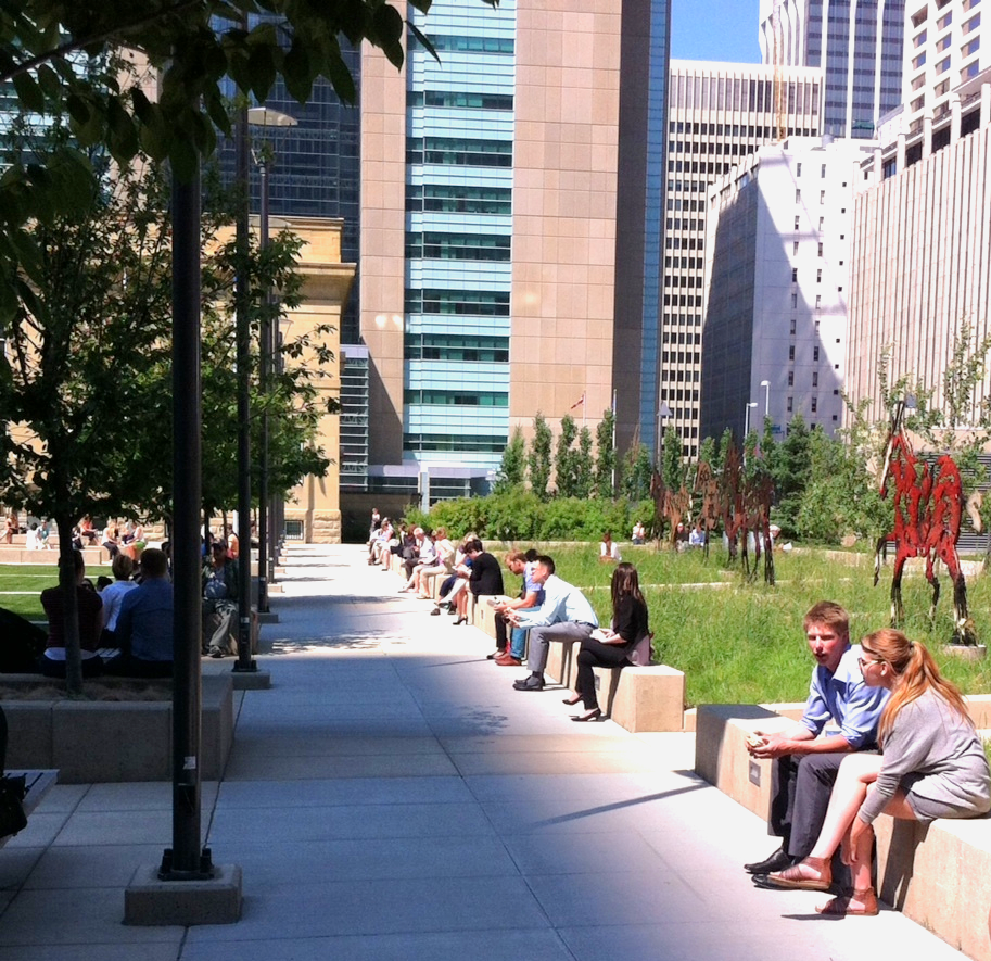 As a winter city, Calgarians love to sit in the sun whenever they can.