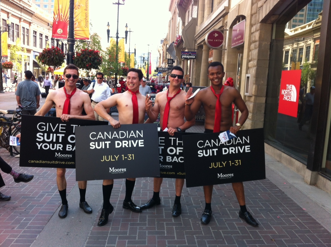 You never know what you will see on Stephen Avenue during the power hour.  It is a popular place for marketing promotions and give-aways.