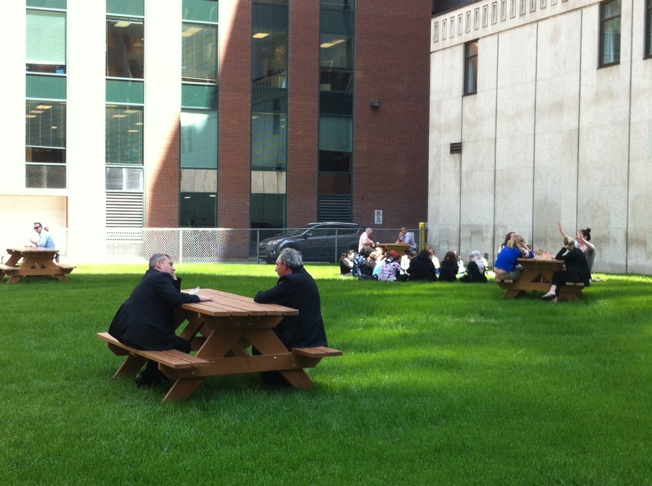 This could be the most minimalist downtown park in Canada - no name, no trees, no decorations, just green grass and four picnic tables randomly spaced.