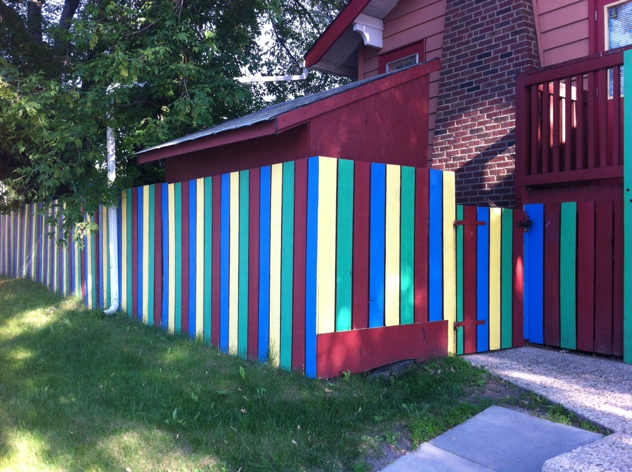 Every community needs a fun fence, they are most often found at daycares like this one. Note to self:  do a photo essay on fun fences.