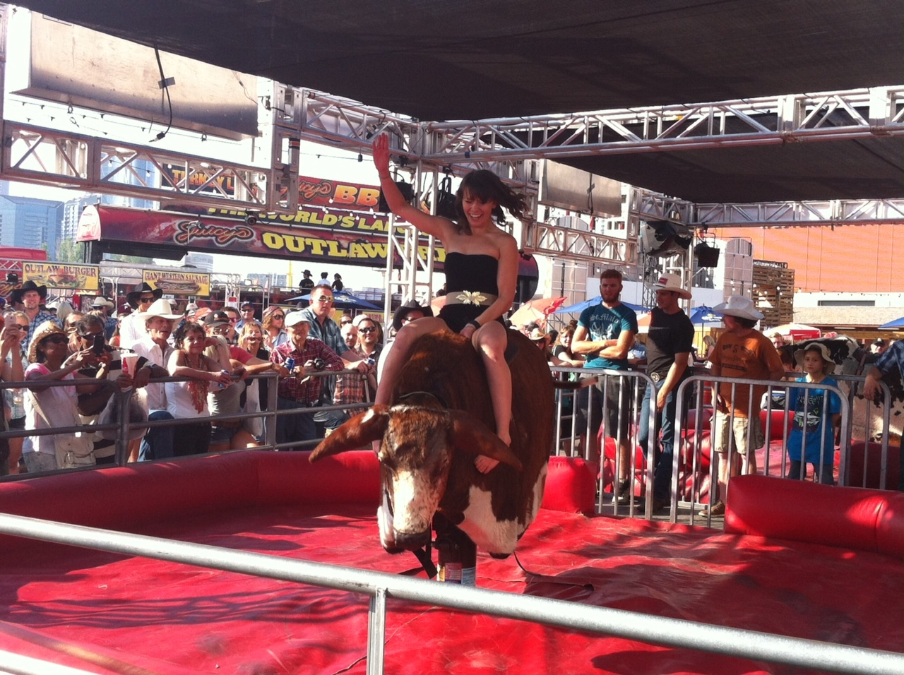 The addition of the mechanical bulls was very popular with young and old.  I saw individuals from 6 to 60 give it a try. I did not!