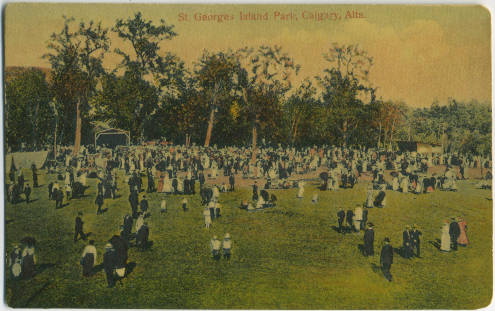 "This postcard reminds me of George Seurat's 1984 painting a Paris Park titled ""A Sunday at La Grande Jatte (see below).  Calgary's sense of place was more closely linked to European at the turn of the 20th century than it is today."