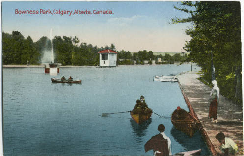 Early 20th century postcard of Bowness Park lagoon.