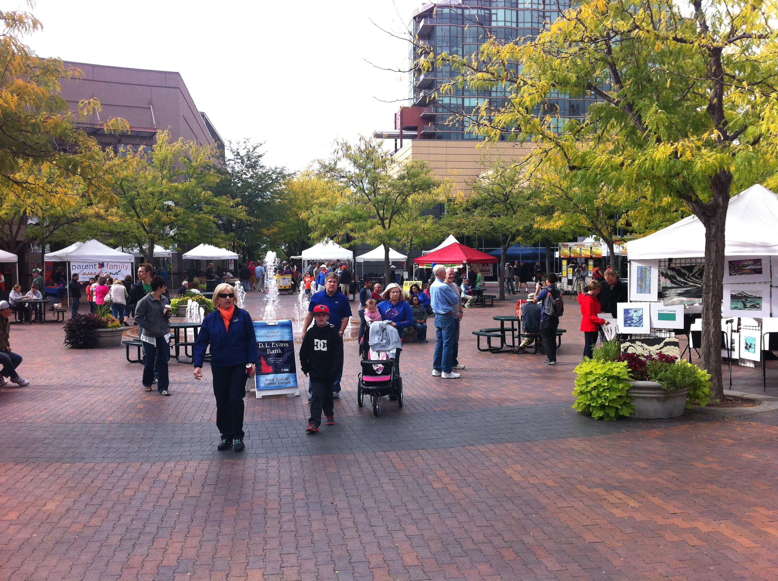 Boise's Art Market spills out from the street onto Grove Plaza.