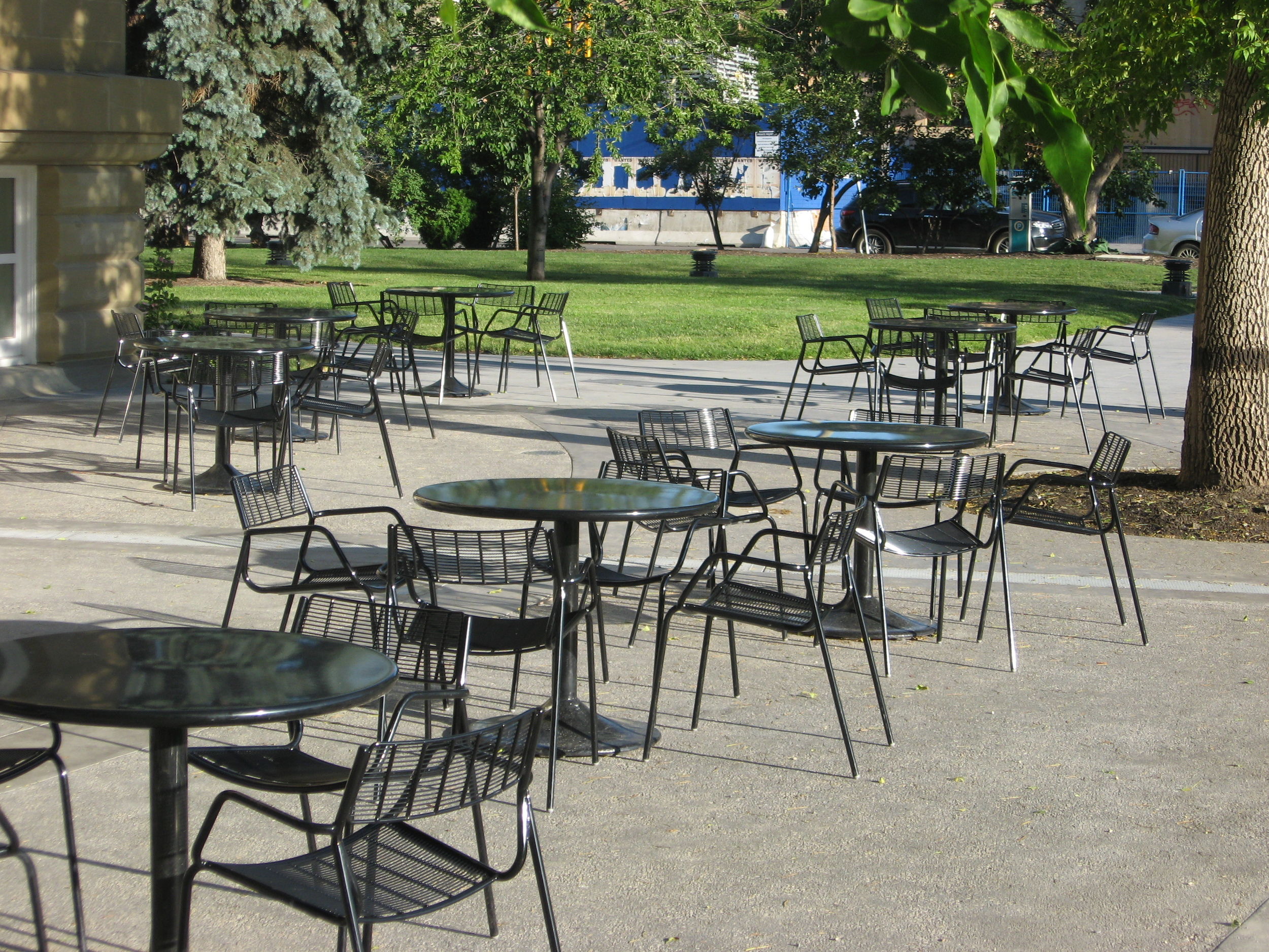 These chairs in Memorial Park are just waiting for a Saturday Market.