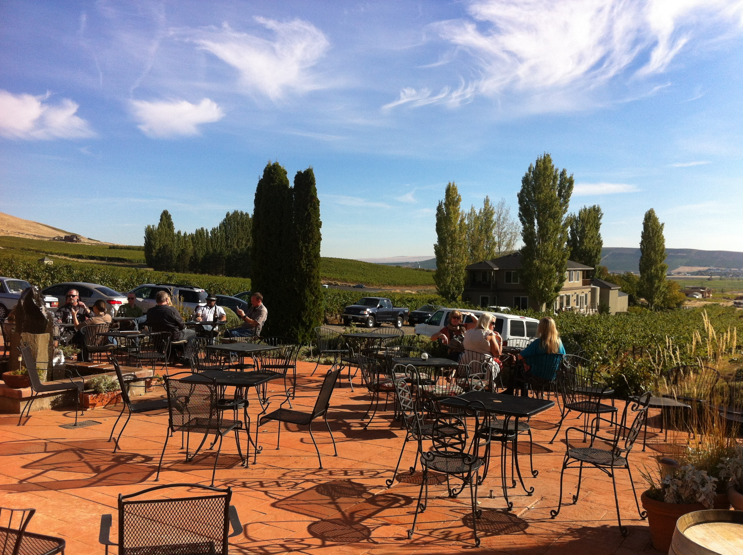 This is the patio at the Tapteil Vineyard Winery with one of the cottages below that you can rent.