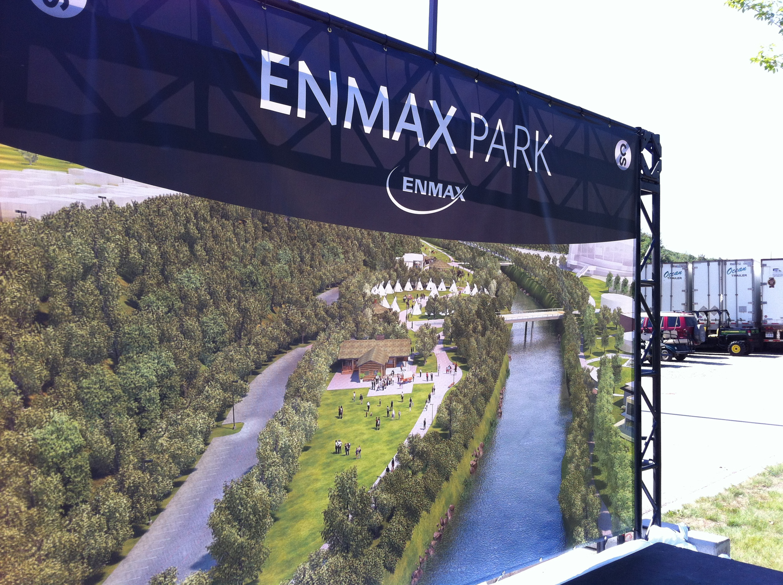 ENMAX Park showing enhanced park space including new Indian Village site.