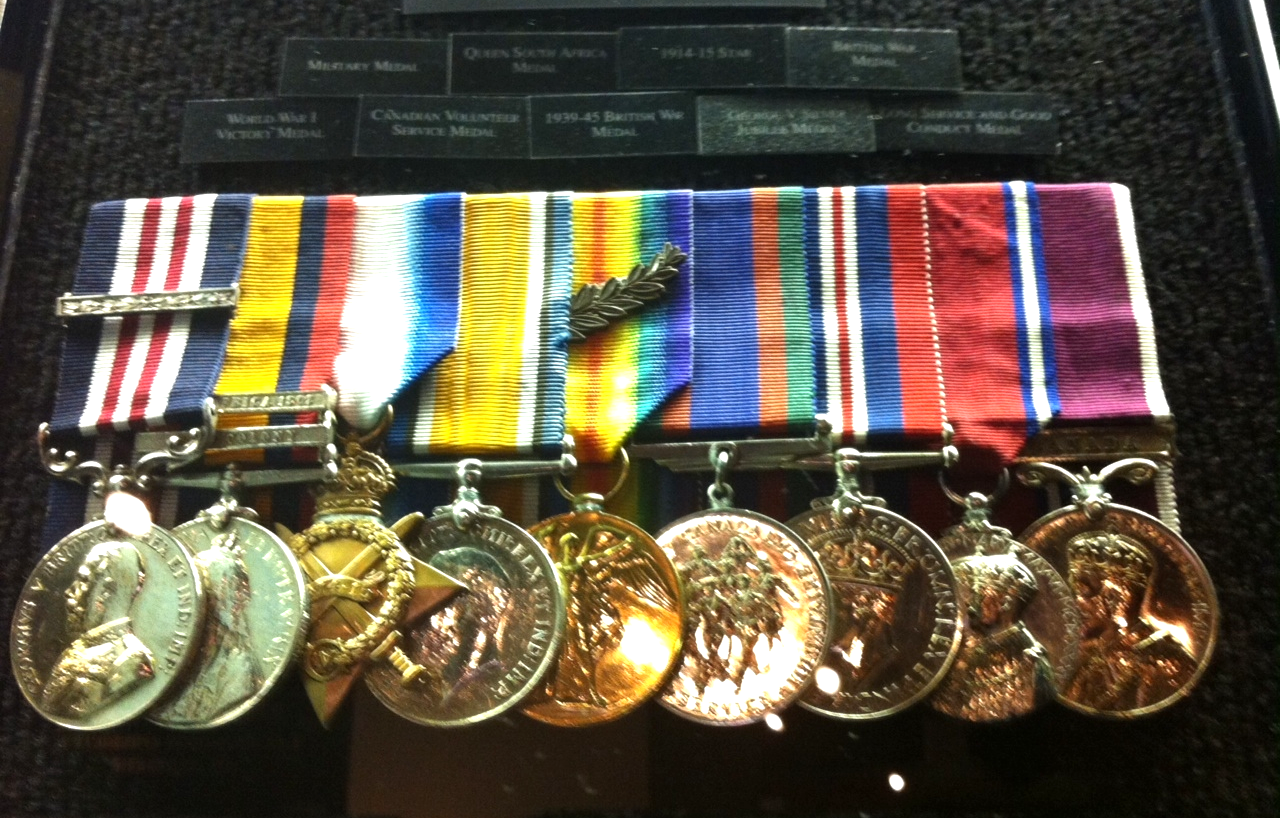 The collection of medals is impressive.