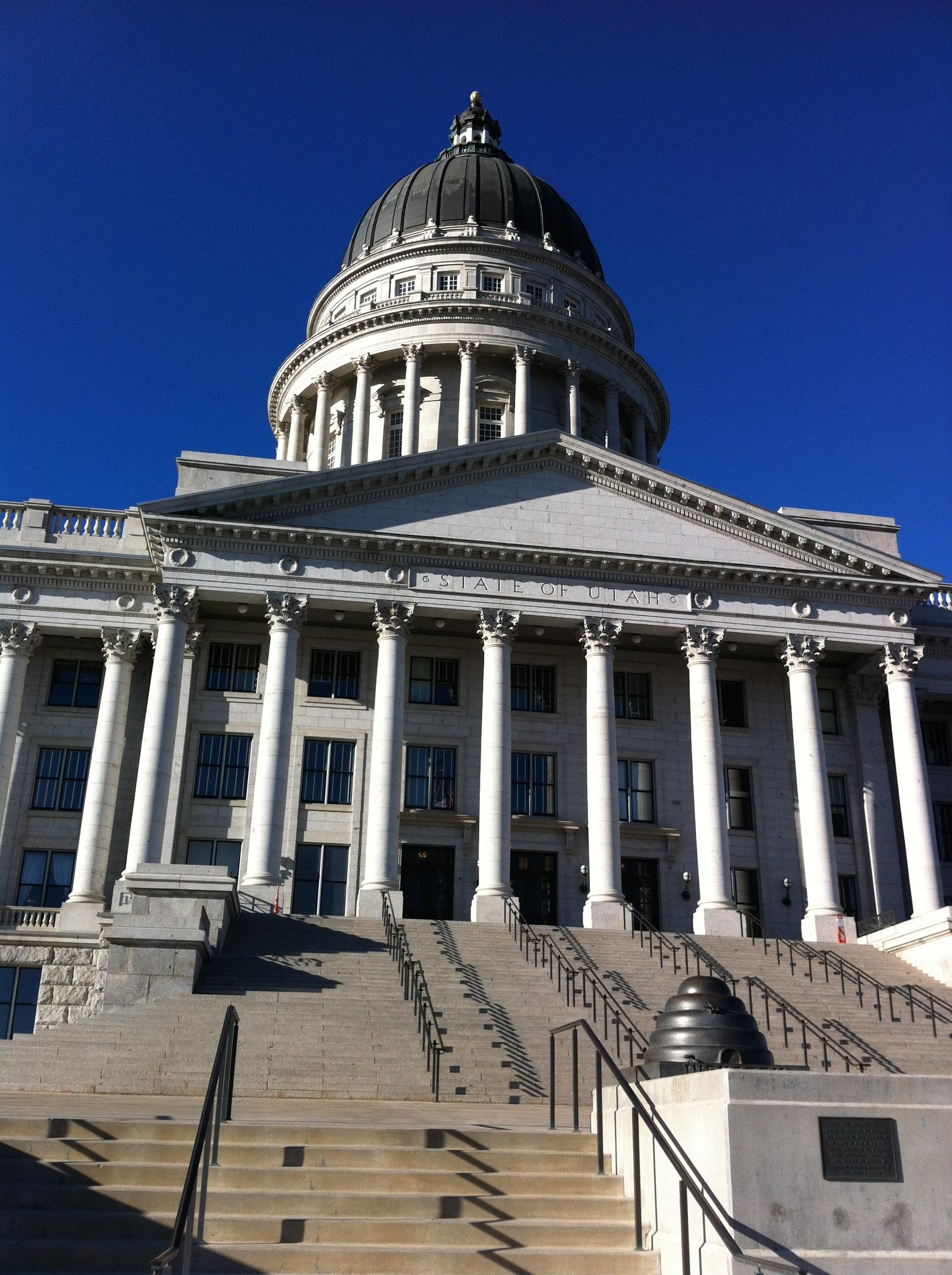 SLC's capitol building sits on a hill with a magnificent view of the Salt Lake valley and mountains.