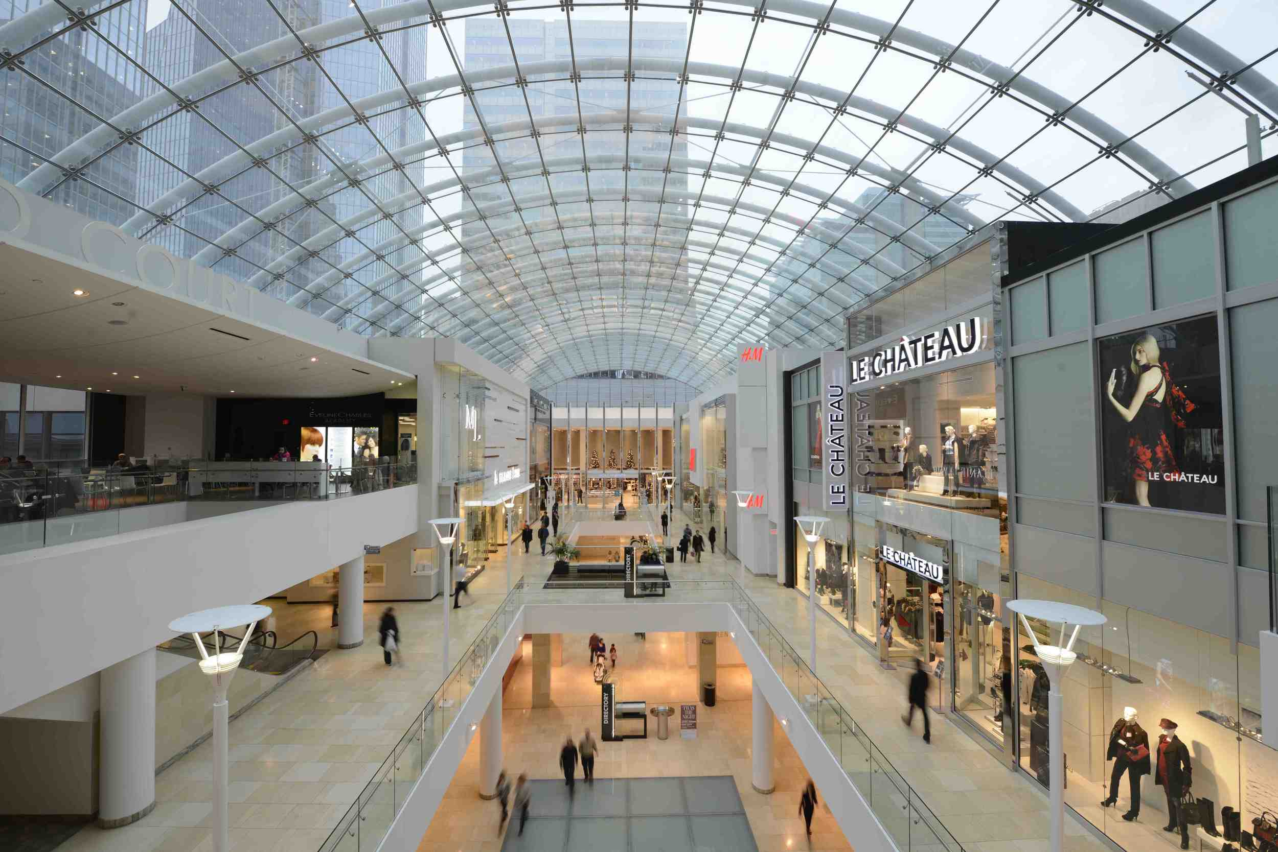 The Core shopping Centre links  three city blocks with its massive skylight.