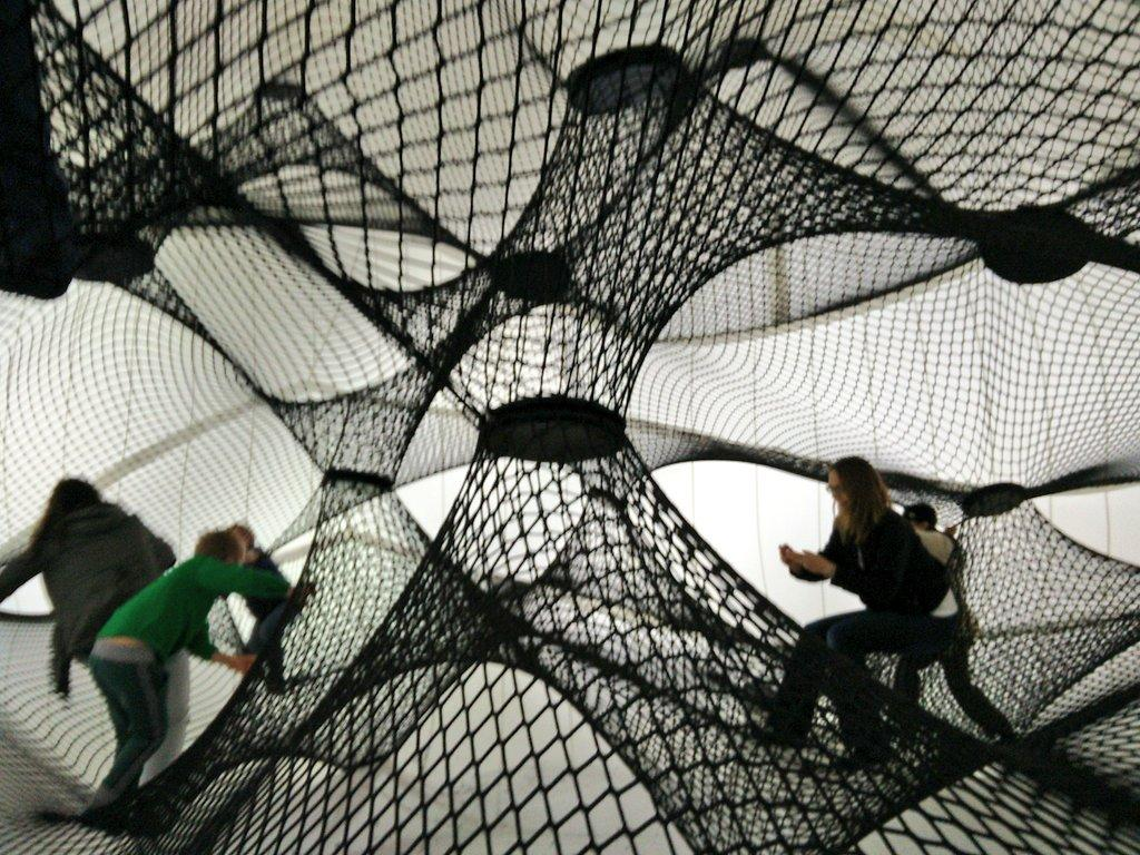 Net Blow-up created in Austria is billed the first self-supporting, climbable structure in the world.This spider web climbing structure was popular at the East Village site. (Photo Credit: Elred Naxela)