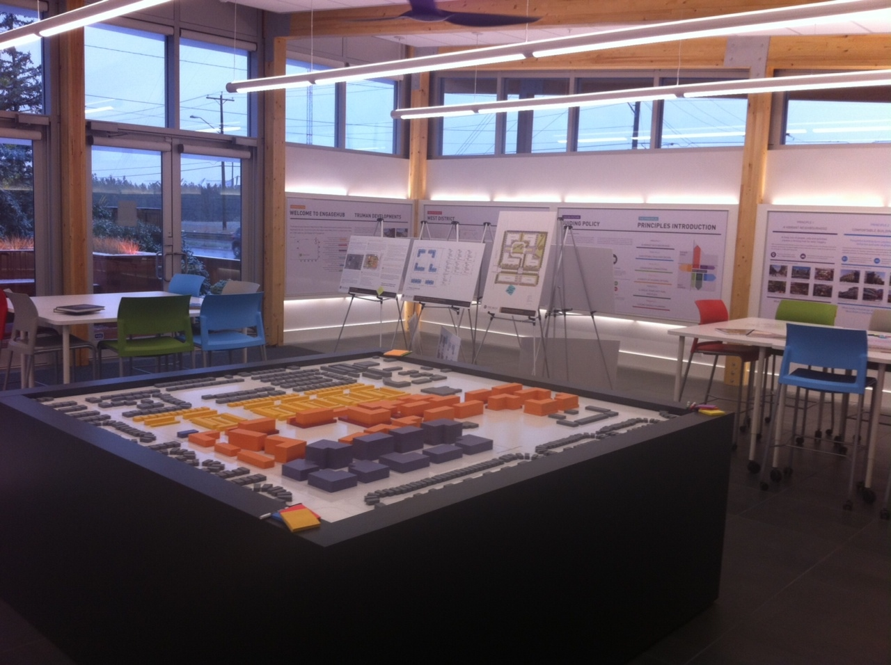 Inside the Engagement Hub is a massing model of the proposed community, along with lots of display boards with facts, figures and pictures.